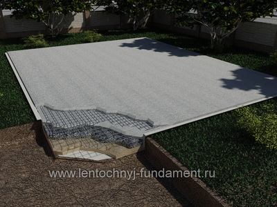 Монолитная плита на буровых сваях 10х8
